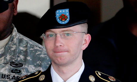 Bradley Manning is escorted out of a courthouse in Fort Meade, Maryland. Photograph: Patrick Semansky/AP